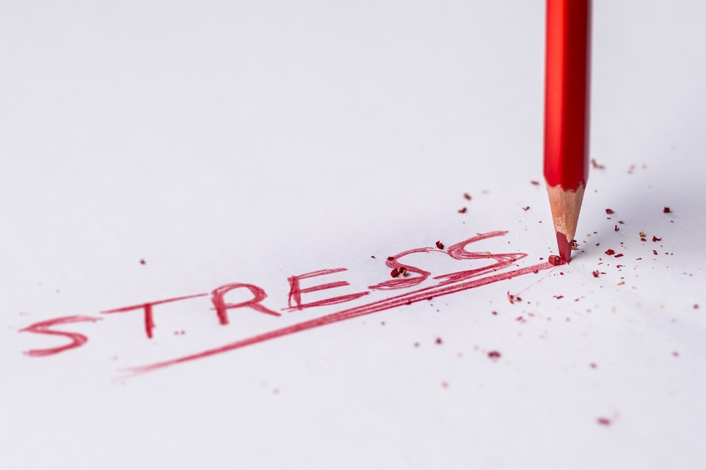 image of the word stress written in red pencil and underlined